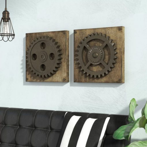 ribbed distressed 2 piece gear wheel wall décor set