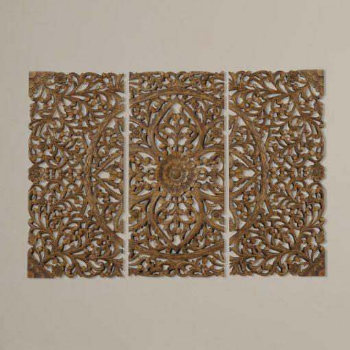 riley 3 piece versatile brown wood wall decor set