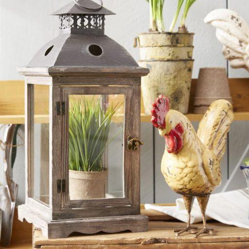 riley rustic wood frame and metal top lantern