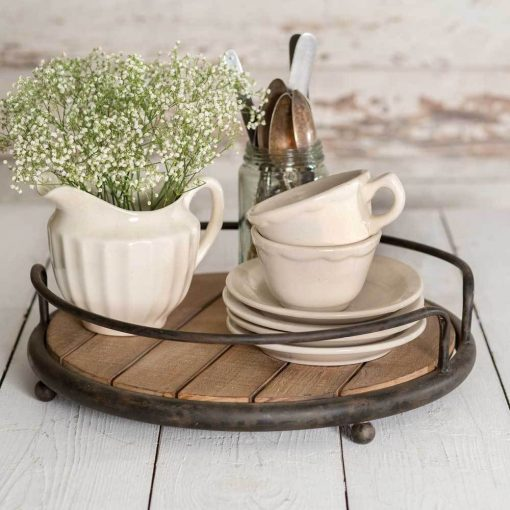 rina metal round wood plank serving tray