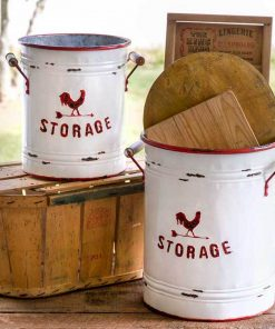 rome white and red storage tins with handles set of