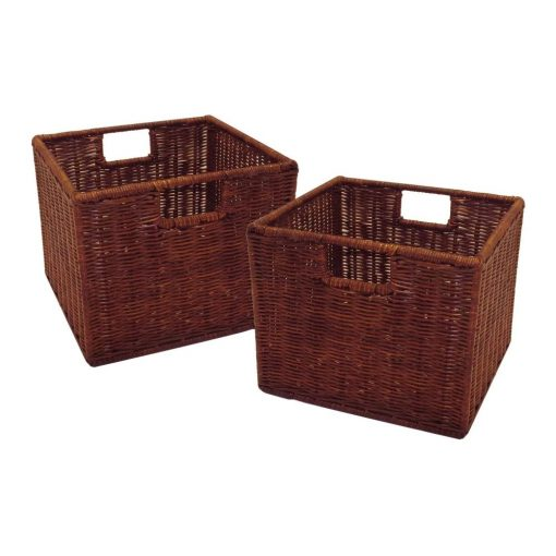 rylee 2 piece walnut small storage baskets with built in handles set
