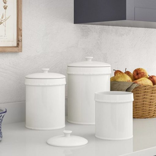 sabina white ceramic kitchen canister set of