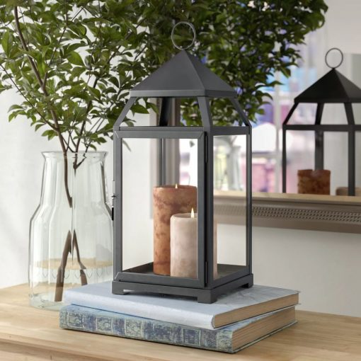sally traditional glass panels and metal frame candle lantern