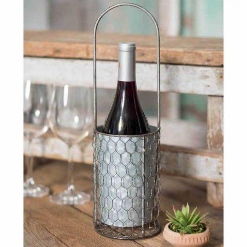 samia portable chicken wire wine bottle carrier