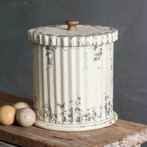 santiago whitewash metal canister with wood lid