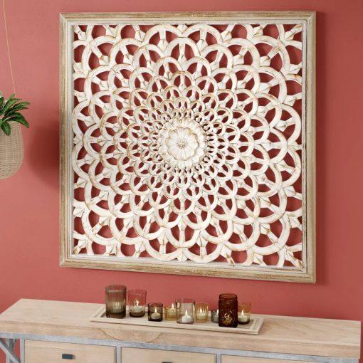 santorini modern flower inspired carved pine squre wood wall decor
