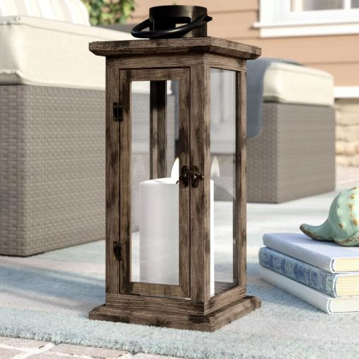 santorini pine wood and glass lantern