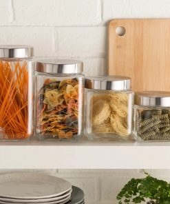 santorini screw top glass kitchen canister set of