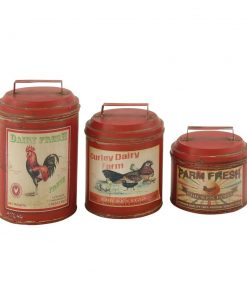 savannah farmhouse tin kitchen canister set of