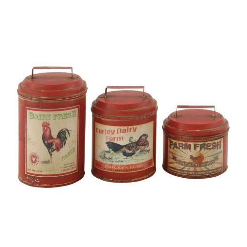 savannah farmhouse tin kitchen canister set of