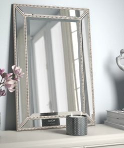 sawyer silver rectangle beveled beaded accent wall mirror
