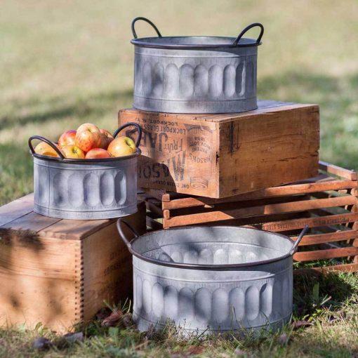 scotch galvanized apple baskets with handles set of