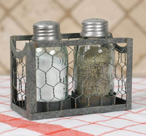 serra gray chicken wire salt and pepper holder set of