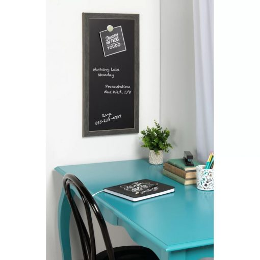 serra gray wood frame magnetic wall mounted chalkboard