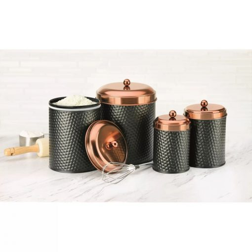 shira kitchen hammered finish with lids canister set of