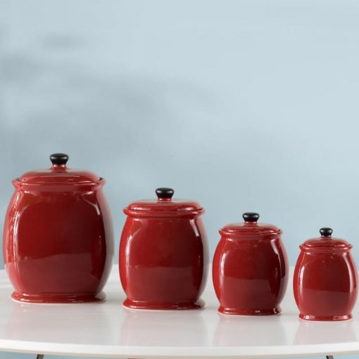 shira red kitchen storage jar set of