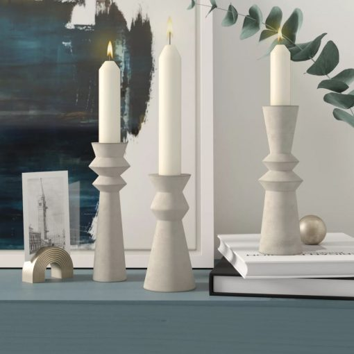 shoshanna 3 piece and different style concrete candlestick set