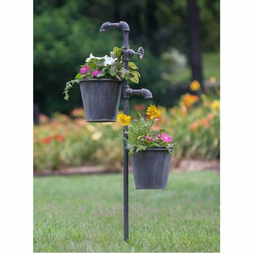 siena iron faucet garden stake with double planters holder