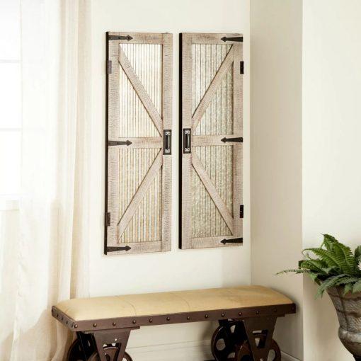 sol iron and wood interior barn door wall décor