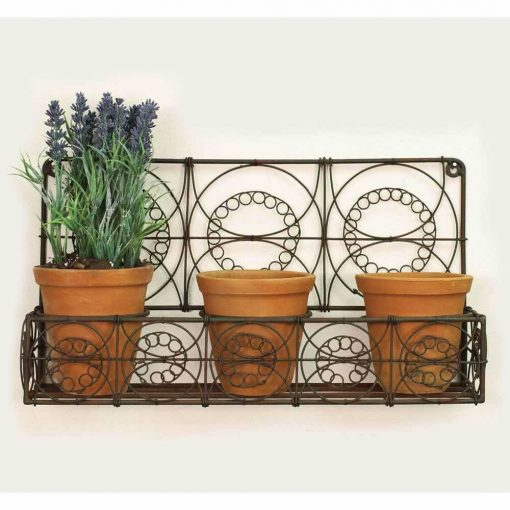 sol metal wall planter with three pots