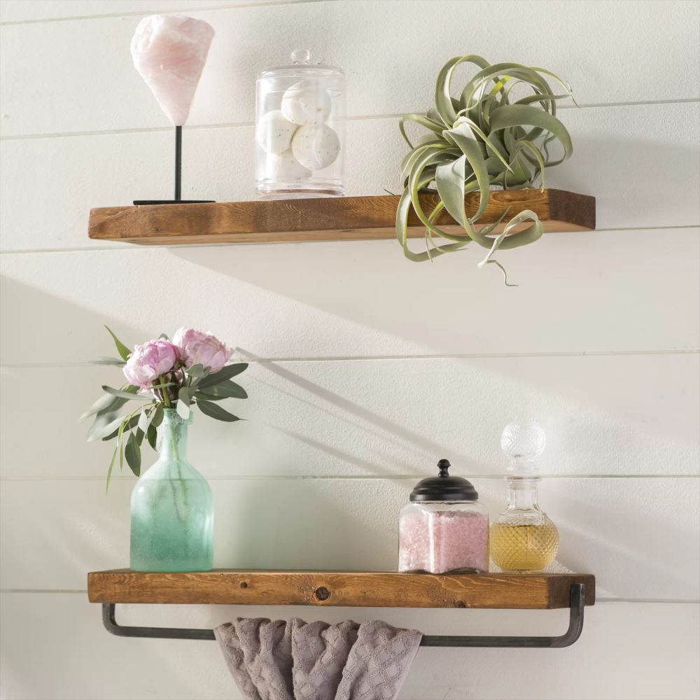 sonatina 2 piece wall shelf set with pine wood