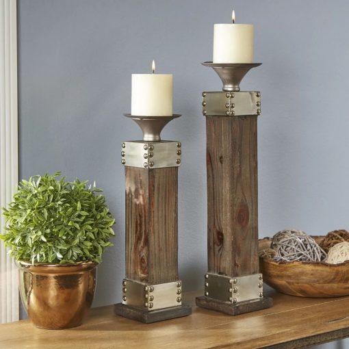 sonja 2 piece fir and metal candlestick holders set