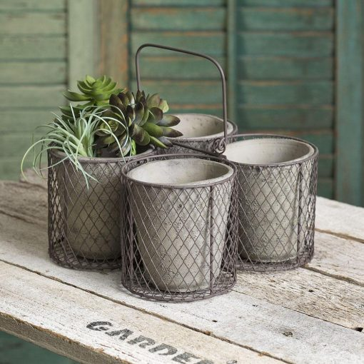 sonja gray small four terra cotta pot caddy