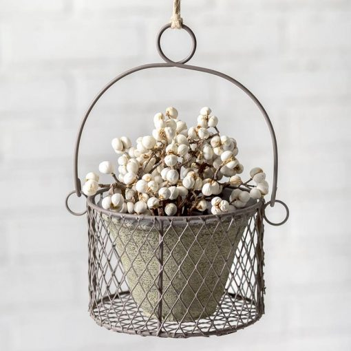sonja small metal hanging pot with wire basket