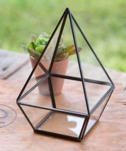stephanie black tall geometric tabletop terraium
