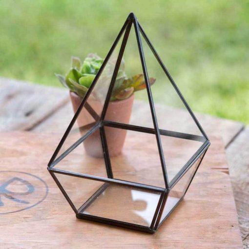 stephanie black tall geometric tabletop terraium