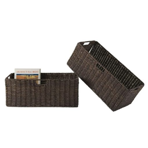 surat 2 piece foldable large corn husk wicker basket set