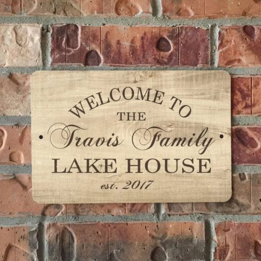 talei personalized wood grain look lake house metal sign wall decor