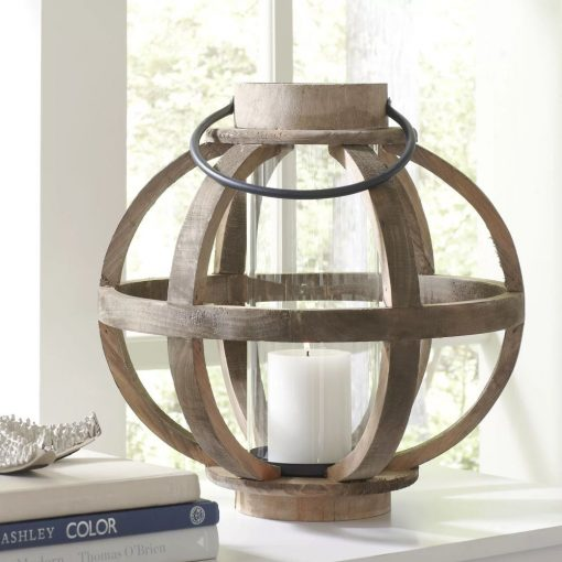 thora fir wood frame and cylindrical glass hurricane lantern