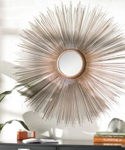 thora solid wood and metal sunburst accent mirror