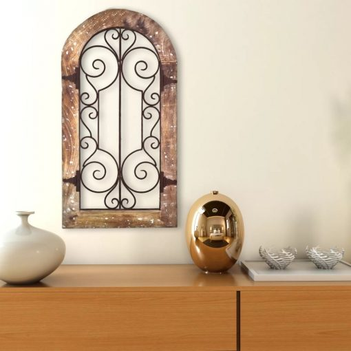 tildie antiqued brown panel wall décor