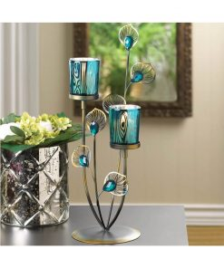 tosca blue iron tabletop candelabra