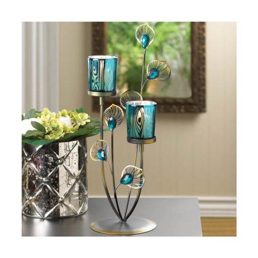tosca blue iron tabletop candelabra
