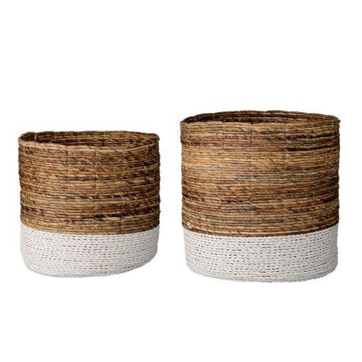 toulouse 2 piece round raffia and banana leaf basket set