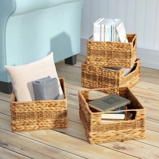 trudy natural brown 4 piece wicker basket set
