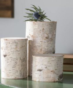 valdis 3 piece white decorative birch pillar set
