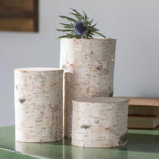 valdis 3 piece white decorative birch pillar set