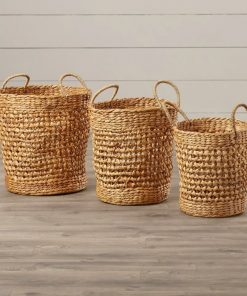 verity oval 3 piece seagrass baskets set