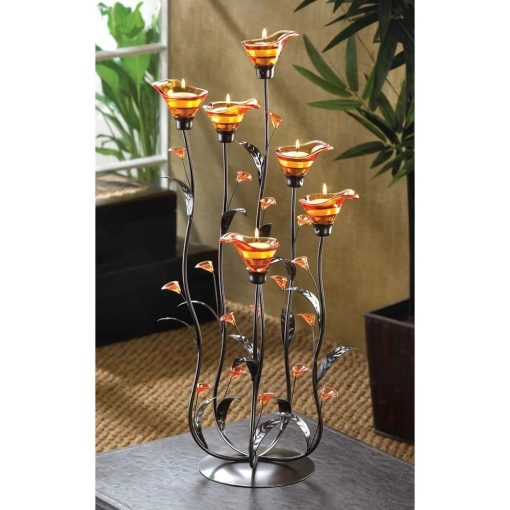 victoire free standing calla lily glass votive