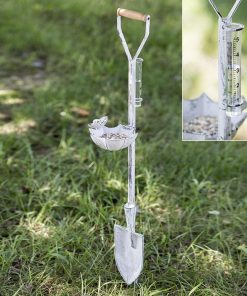white spade feeder and rain gauge garden stake with wood handle