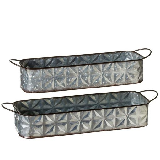 willow embossed galvanized rectangle tray set of