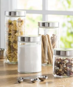 yumi round screw top glass kitchen canister set of