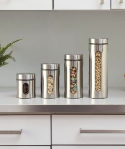 yumi stainless steel kitchen canister with clear glass window set of