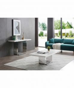 adelaide modern marble and stainless steel coffee table