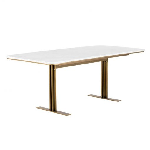 adelia white marble rectangular dining table